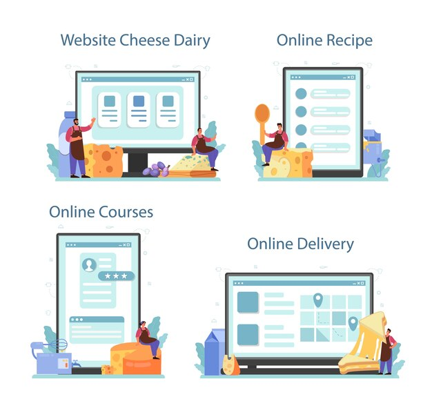 치즈 메이커 온라인 서비스 또는 플랫폼 세트.