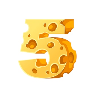 Cheese number 5 style cartoon food design flat vector illustration isolated on white background.
