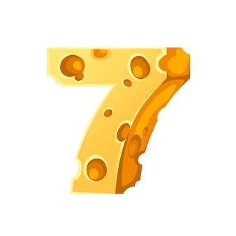 Cheese number 7 style cartoon food design flat vector illustration isolated on white background.