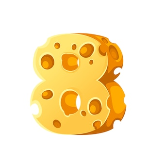 Cheese number 8 style cartoon food design flat vector illustration isolated on white background.