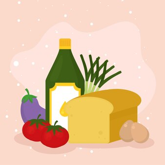 オレンジ色の背景に設定されているチーズオリーブオイルボトルと食品のアイコン