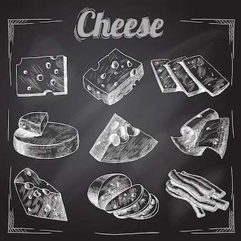 Cheese on black background