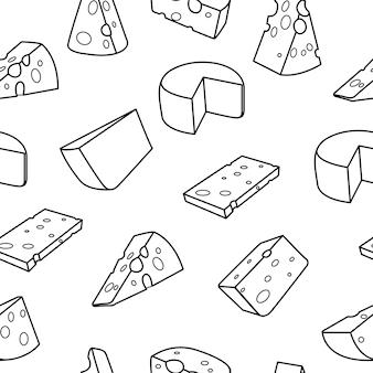 치즈 개요. 흰색 배경에 원활한 포함 치즈 패턴입니다.