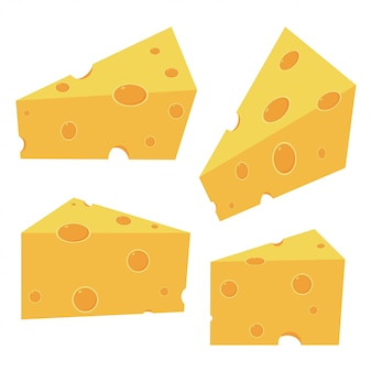 Cheese pieces   cartoon set isolated on white background.