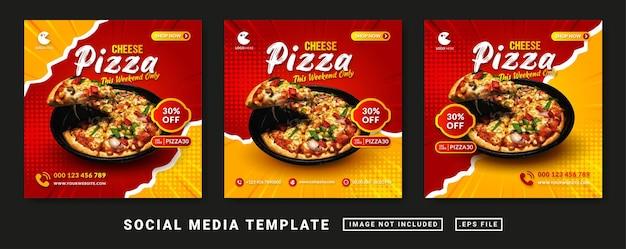 치즈 피자 음식 메뉴 홍보 소셜 미디어 배너 템플릿