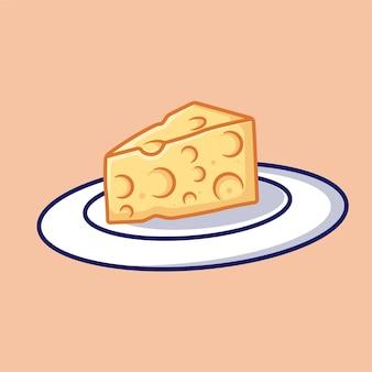 Cheese on plate vector cartoon icon illustration