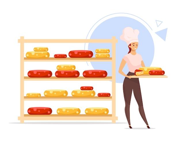 Сыр производства цветная иллюстрация. сыроделия. женский сыродел рядом с полкой с сыром. женщина с подносом. молочный продукт. мультипликационный персонаж на белом фоне