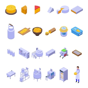 チーズ生産アイコンを設定します。白い背景で隔離のウェブデザインのチーズ生産アイコンの等尺性セット