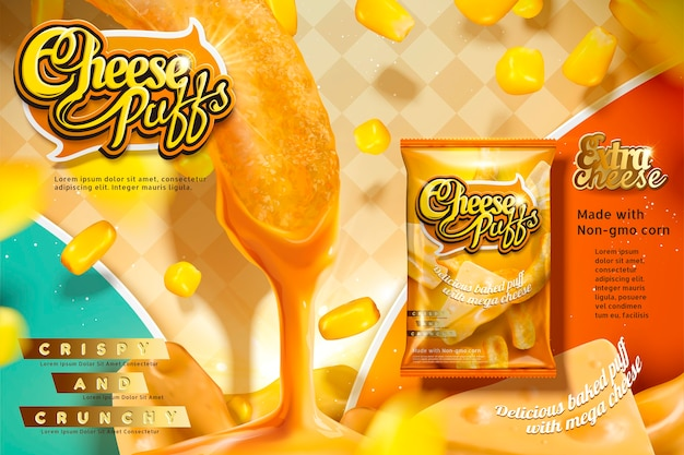 Cheese puffs ads with corn curls dipping delicious sauce, package