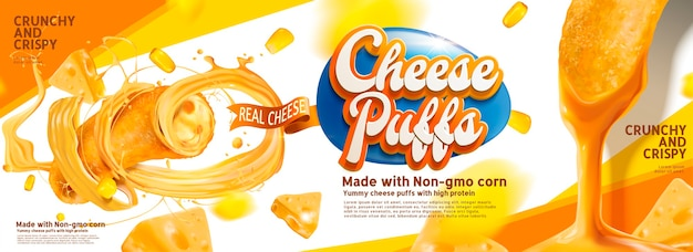 Cheese puffs banner ads with delicious sause swirling in the air