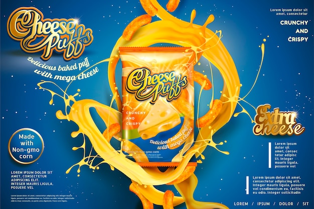 Cheese puffs package  with splashing ingredients , blue background
