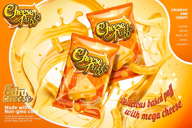 Cheese puffs package  with splashing ingredients , orange tone