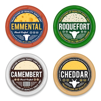 Cheese round labels and packaging elements.