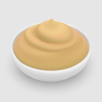 Cheese sauce in bowl isolated