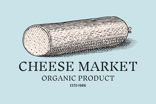Значок сырной колбасы. винтажный логотип для рынка или продуктового магазина.