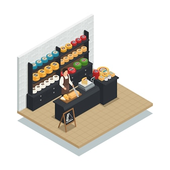 Cheese seller isometric composition