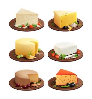 Набор сыров. сырная тарелка. молочные продукты. иллюстрации.