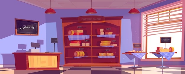 Cheese shop interior with cheddar and gouda slices on tables and shelves.