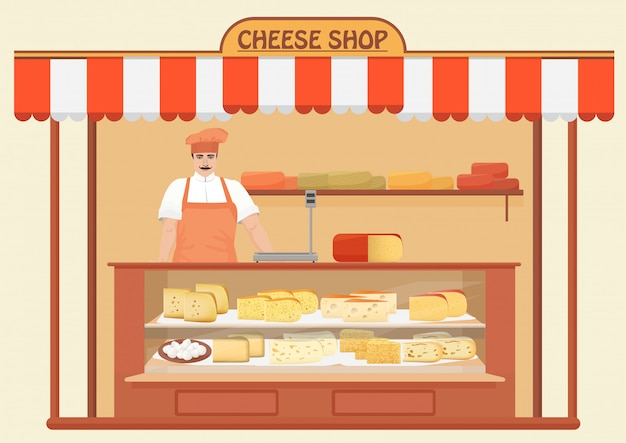 Cheese shop with man seller