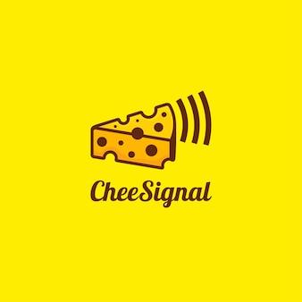 Дизайн шаблона логотипа сигнала сыра, изолированные на желтом фоне. милый дизайн.