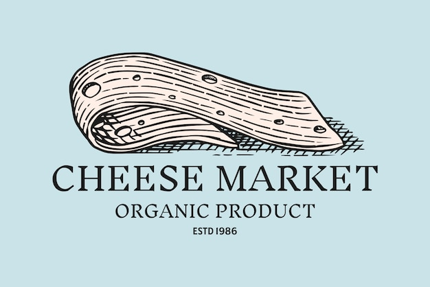치즈 슬라이스 배지. 시장이나 식료품 점을위한 빈티지 로고.