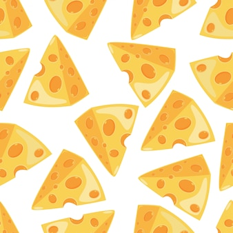 Cheese slice vector seamless pattern