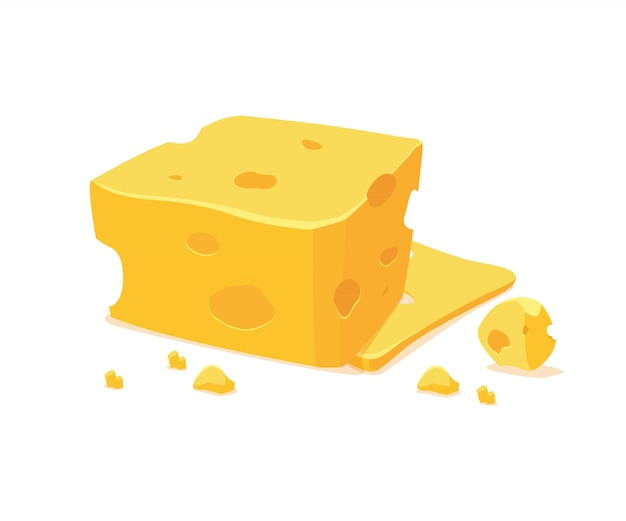 Cheese slices in cartoon style