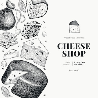 Cheese  template. hand drawn  dairy illustration. engraved style different cheese kinds banner. vintage food background.