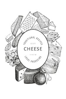 Шаблон сыра. нарисованная рукой молочная иллюстрация. гравированный стиль различных видов сыра баннер. старинный продовольственный фон.