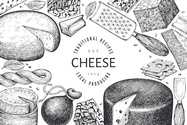 チーズテンプレート。手描きの乳製品のイラスト。刻まれたスタイルのさまざまなチーズの種類のバナー。ヴィンテージ料理の背景。