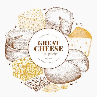チーズテンプレート。手描きの乳製品のイラスト。刻印スタイルのチーズの種類。レトロな食品の背景。
