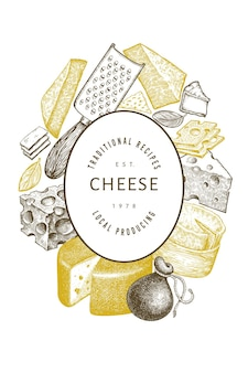チーズテンプレート。手描きの乳製品のイラスト。刻まれたスタイルのさまざまなチーズの種類。ヴィンテージ料理の背景。