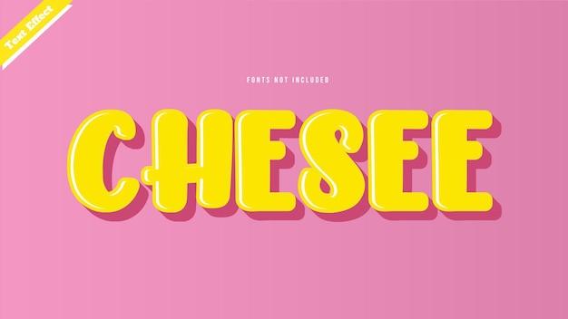 치즈 텍스트 효과 디자인 벡터 편집 가능한 텍스트 효과