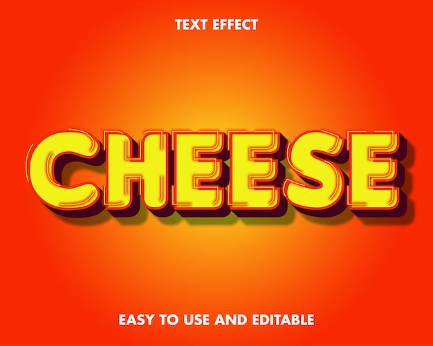 치즈 텍스트 효과. 편집 가능한 글꼴 스타일.