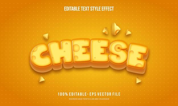 치즈 테마 텍스트 스타일. 벡터 편집 가능한 텍스트 스타일 효과.