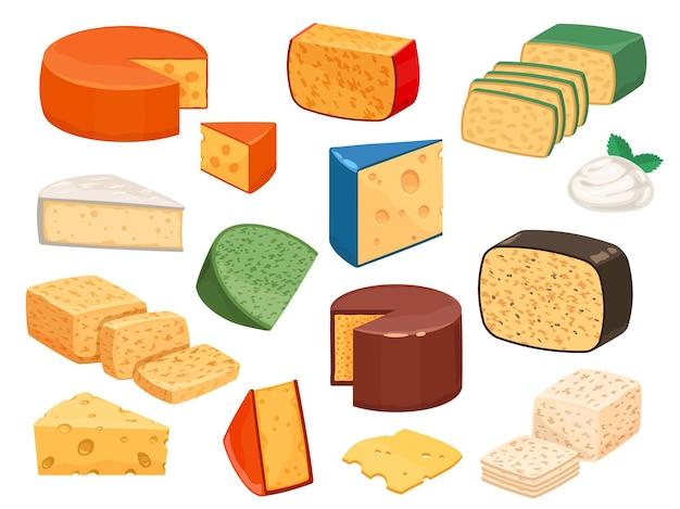 Типы сыров. мультяшный нарезанный пармезан, треугольник бри, моцарелла, гауда чеддер и ломтики феты. вкусный молочный пищевой продукт. набор векторных сыр, пармезан и чеддер иллюстрации дизайн