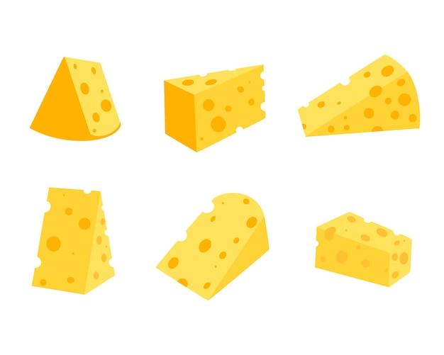Сыр с изолированным на белом фоне, плоской векторной иллюстрации. набор разных сыров