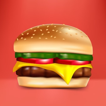赤い背景のチーズバーガー