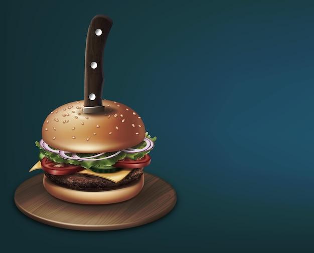 丸い木の板のイラストにナイフで刺されたチーズバーガー