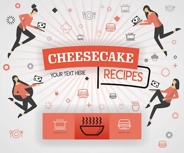 Cheesecake recipes and orange flat illustration