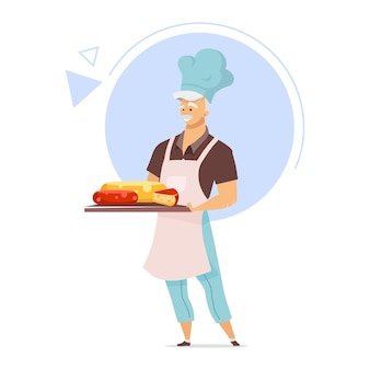 Cheesemaker with tray flat color illustration. cheesemaking concept. male chef in apron. cheese store. food industry. dairy product. isolated cartoon character on white background