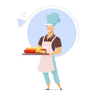トレイフラットカラーイラストとチーズメーカー。チーズ作りのコンセプト。エプロンの男性シェフ。チーズ店。食品業界。乳製品。白い背景の上の孤立した漫画のキャラクター