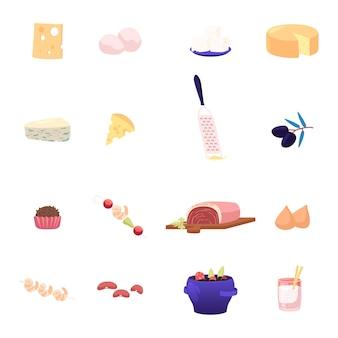 Cheeses and food set