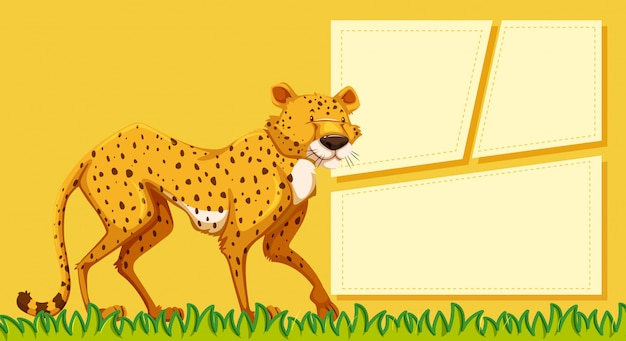 A cheetah on blank note
