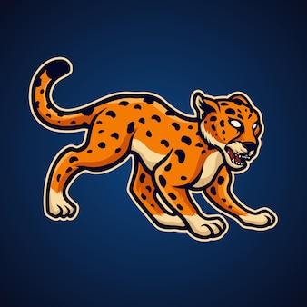 Cheetah on blue