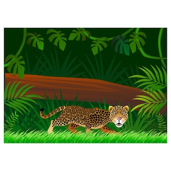 Мультфильм гепарда на фоне леса