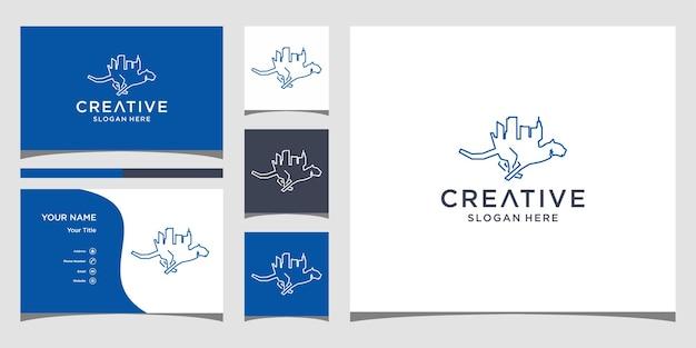 Дизайн логотипа города гепарда с шаблоном визитной карточки