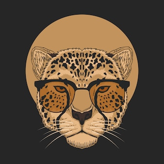 Cheetah eyeglasses illustration