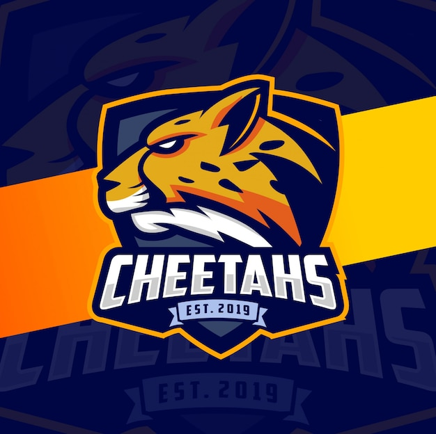 Cheetah mascot esport logo design