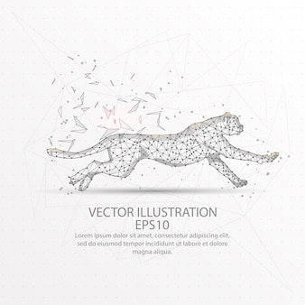 Cheetah running low poly wire frame.